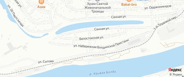 Белостокская улица на карте Астрахани с номерами домов