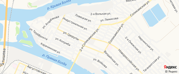 Свободный ГСК на карте Астрахани с номерами домов
