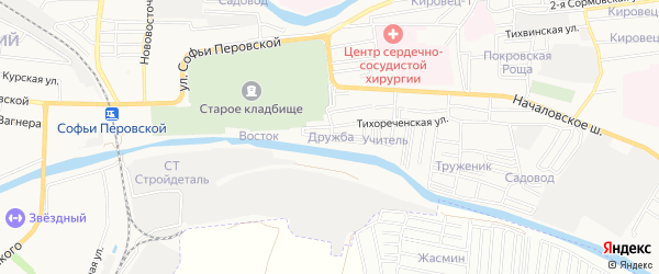 Садовое товарищество Дружба на карте Астрахани с номерами домов
