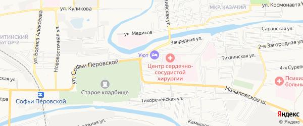 Садовое товарищество Моряк (Камышовая ул) на карте Астрахани с номерами домов