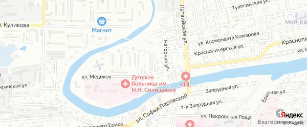 1-я Нагорная улица на карте Астрахани с номерами домов