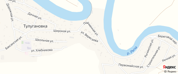 Улица Вересаева на карте села Тулугановки Астраханской области с номерами домов