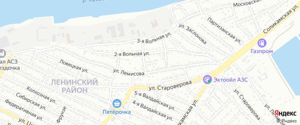 Переулок 2-й Лемисова на карте Астрахани с номерами домов