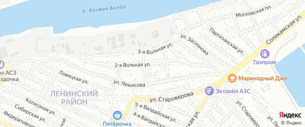 2-я Вольная улица на карте Астрахани с номерами домов