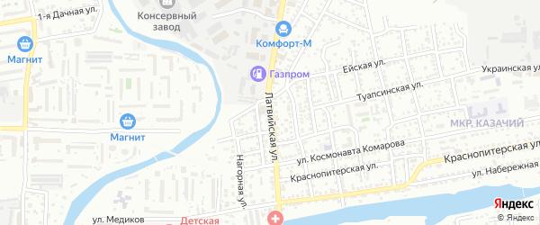 Латвийская улица на карте Астрахани с номерами домов