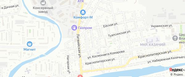 Кооперативный переулок на карте Астрахани с номерами домов