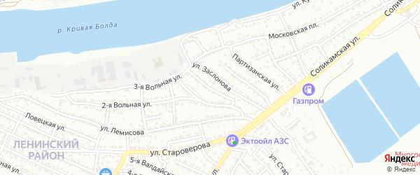 2-й Вольный переулок на карте Астрахани с номерами домов