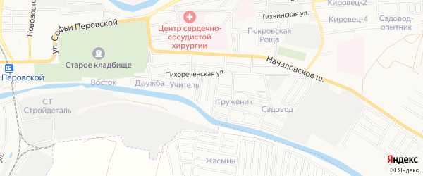 Садовое товарищество Ломбард на карте Астрахани с номерами домов