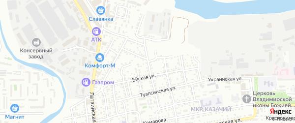 Очаковская улица на карте Астрахани с номерами домов
