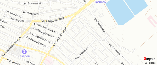 2-й Соликамский переулок на карте Астрахани с номерами домов