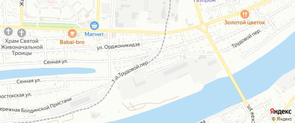 Трудовой 1-й переулок на карте Астрахани с номерами домов