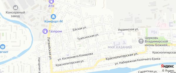 Туапсинская улица на карте Астрахани с номерами домов