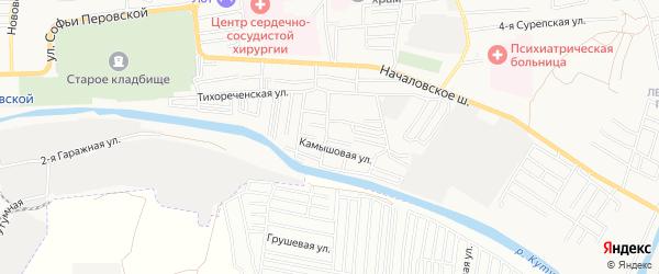 Садовое товарищество Труженик на карте Астрахани с номерами домов