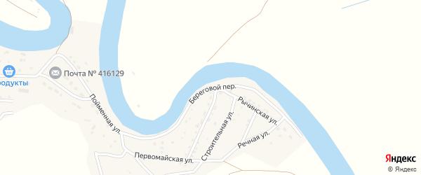 Береговой переулок на карте села Тулугановки Астраханской области с номерами домов