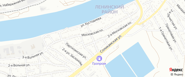2-й Перекопский на карте Астрахани с номерами домов