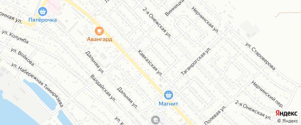 Кавказская улица на карте Астрахани с номерами домов