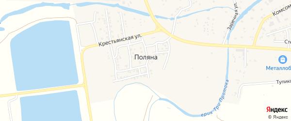 Цветочная улица на карте поселка Поляны Астраханской области с номерами домов