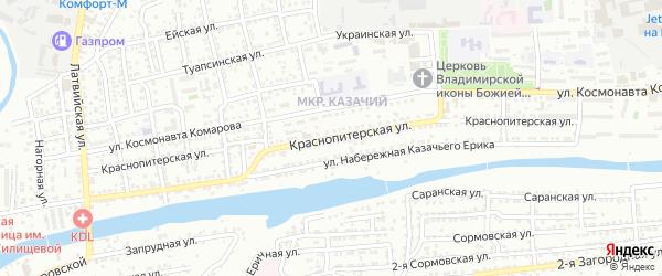 Краснопитерская улица на карте Астрахани с номерами домов