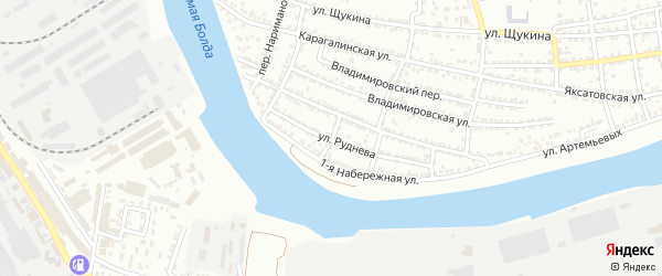 Переулок Руднева на карте Астрахани с номерами домов