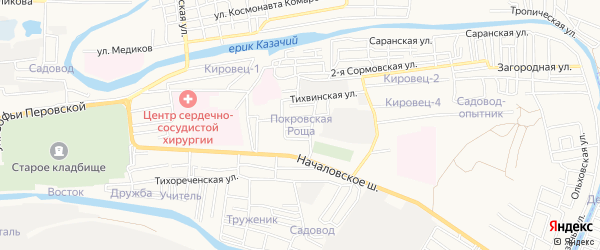 Садовое товарищество Покровская роща на карте Астрахани с номерами домов