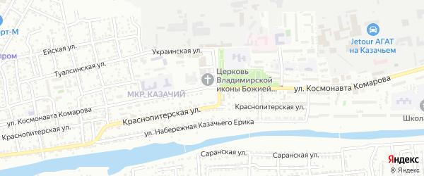 Улица Космонавта Комарова на карте Астрахани с номерами домов