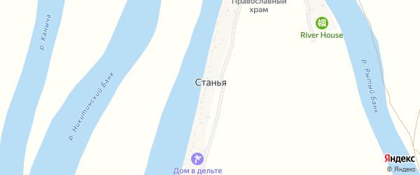 Советская улица на карте поселка Станьи Астраханской области с номерами домов