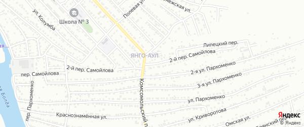 Переулок 2-й Самойлова на карте Астрахани с номерами домов
