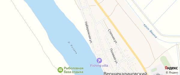 Набережная улица на карте Верхнекалиновского поселка Астраханской области с номерами домов
