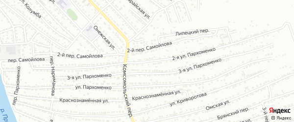Улица 2-я Пархоменко на карте Астрахани с номерами домов