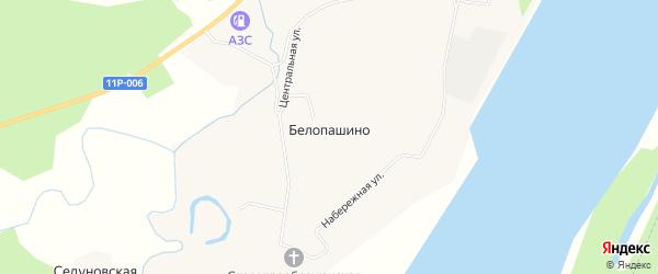 Карта деревни Белопашино в Архангельской области с улицами и номерами домов