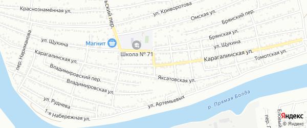 Белый переулок на карте Астрахани с номерами домов