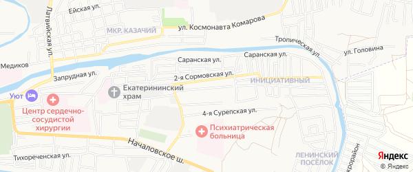 Садовое товарищество Кировец-2 на карте Астрахани с номерами домов