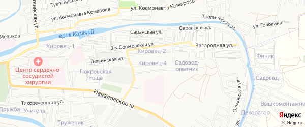 Садовое товарищество Кировец-4 на карте Астрахани с номерами домов