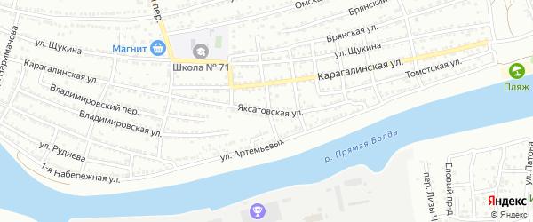 Яксатовская улица на карте Астрахани с номерами домов