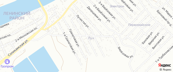 1-я Лучистая улица на карте Астрахани с номерами домов