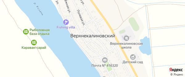 Солнечная улица на карте Верхнекалиновского поселка Астраханской области с номерами домов