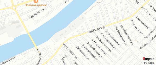 1-й Березовый переулок на карте Астрахани с номерами домов