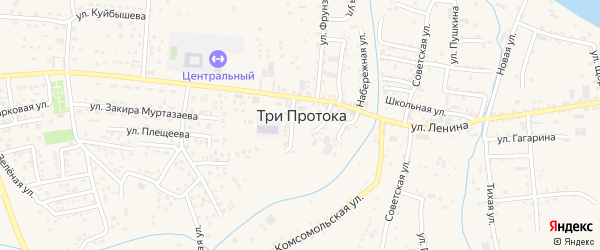 Цветочная улица на карте села Три Протоки Астраханской области с номерами домов