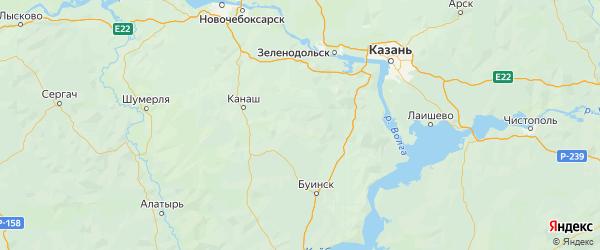 Карта Кайбицкого района Республики Татарстана с городами и населенными пунктами