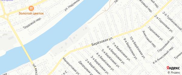Березовый переулок на карте Астрахани с номерами домов