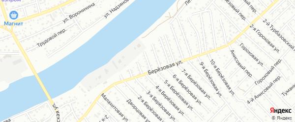 3-й Березовый переулок на карте Астрахани с номерами домов