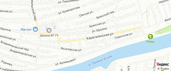 Нерчинский 1-й переулок на карте Астрахани с номерами домов