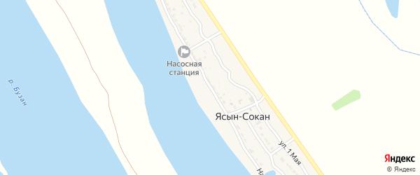 Набережная улица на карте села Ясын-Сокан Астраханской области с номерами домов