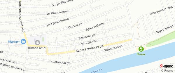 Брянская улица на карте Астрахани с номерами домов