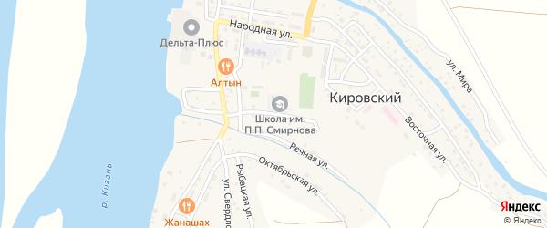 Улица Калинина на карте Кировского поселка Астраханской области с номерами домов