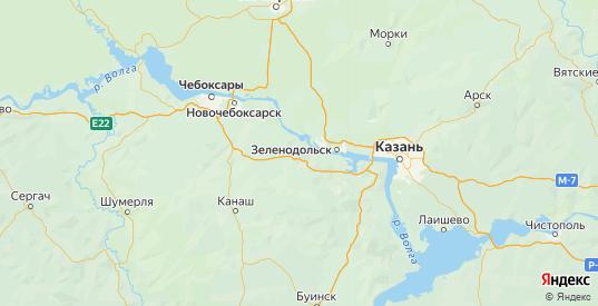 Карта Козловского района республики Чувашия с городами и населенными пунктами
