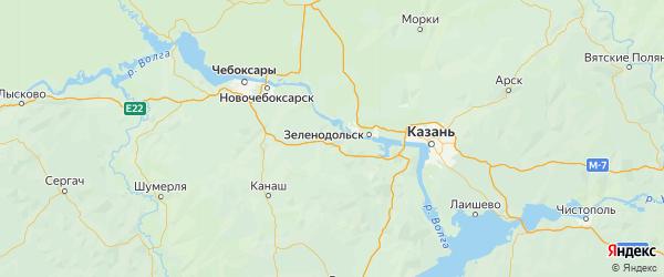 Карта Козловского района Республики Чувашии с городами и населенными пунктами