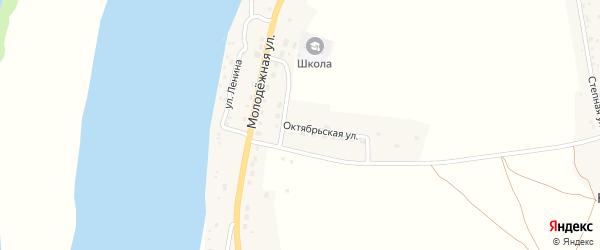 Октябрьская улица на карте Караульного села Астраханской области с номерами домов