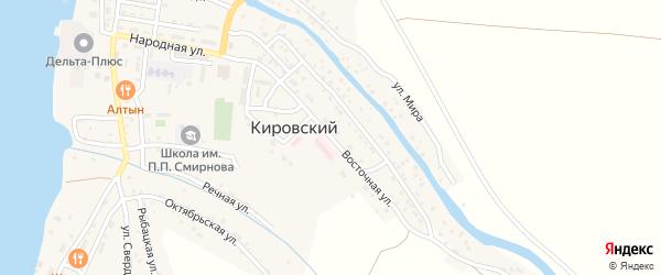Восточная улица на карте Кировского поселка Астраханской области с номерами домов