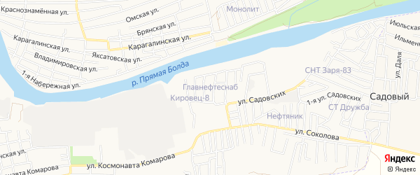 Садовое товарищество Главнефтеснаб на карте Астрахани с номерами домов